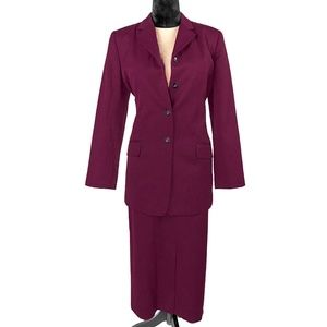 Harve Benard Maroon 2 Pc Skirt Suit